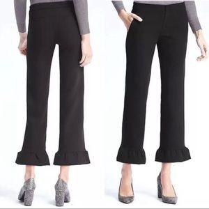 BANANA REPUBLIC Black Logan Crop Ruffle Pants 2